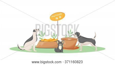 Dog Friendly Cafe Flat Color Vector Character. Cute Puppy In Coffeeshop. Treats For Domestic Animal.