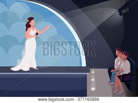Talent Show Flat Color Vector Illustration. Female Singer And Audience 2d Cartoon Characters With St