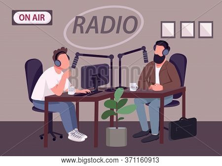 Radio Talk Show Show Flat Color Vector Illustration. Chat Show Host And Guest 2d Cartoon Characters