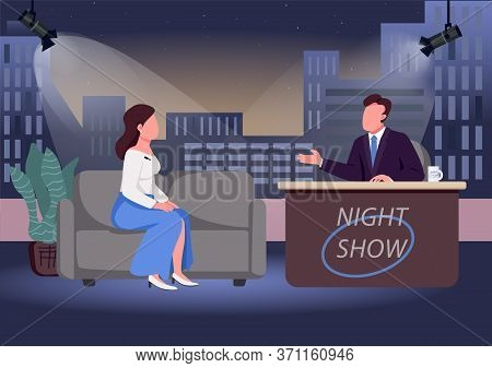 Night Show Flat Color Vector Illustration. Chat Show Host And Famous Guest 2d Cartoon Characters Wit