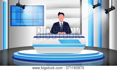 News Program Flat Color Vector Illustration. Male Newscaster, Newsreader, Anchorman 2d Cartoon Chara