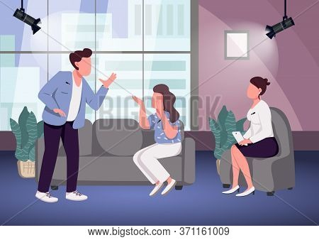 Conflict At Talk Show Flat Color Vector Illustration. Chat Show Host And Arguing Guests 2d Cartoon C