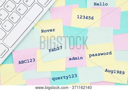 Sticky Notes With A Bunch Of The Worst Password You Can With A Keyboard