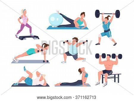 Working Out People Flat Color Vector Faceless Characters Set. Different Physical Exercises Isolated