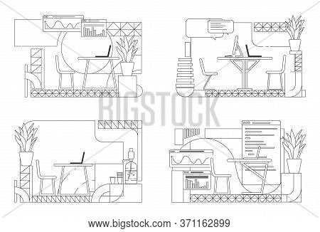 Modern Office Interior Designs Outline Vector Illustrations Set. Company Ceo Personal Workplace Cont