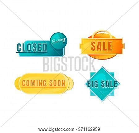 Shopping Vector Board Sign Illustrations Set. Shop Signboard Designs Pack With Typography. Opening A
