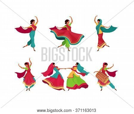 Indian Holiday Celebration Flat Color Vector Faceless Characters Set. Diwali Holiday Performance. Wo