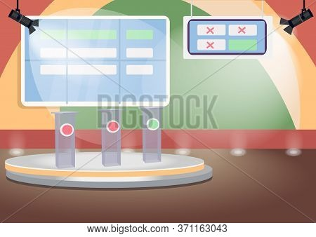 Empty Quiz Show Stage Flat Color Vector Illustration. Trivia Contest Room 2d Cartoon Interior With S