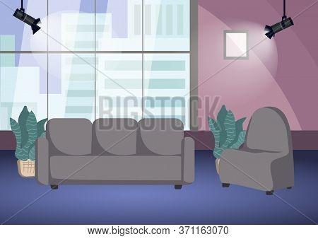 Empty Talk Show Shooting Stage Flat Color Vector Illustration. Chat Show Studio 2d Cartoon Interior