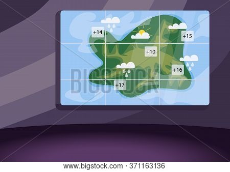 Weather Forecast Studio Flat Color Vector Illustration. Empty Meteo News Studio 2d Cartoon Interior