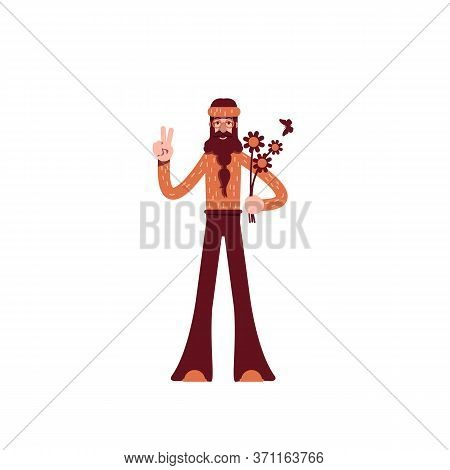 Hippie Flat Color Vector Character. Pacifist In 70s Vintage Clothes. Male Hippy With Flowers Showing