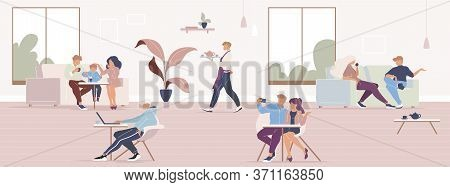 People In City Cafe Flat Color Vector Illustration. Friends Lunch Break In Coffeehouse. Family Spend