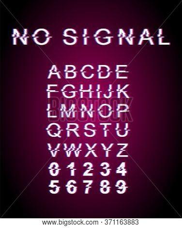 No Signal Glitch Font Template. Retro Futuristic Style Vector Alphabet Set On Pink Background. Capit