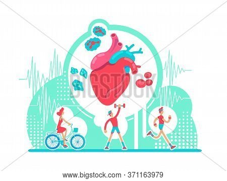 Cardiovascular System Health Care Flat Concept Vector Illustration. Active Cardio Workout. Anatomica