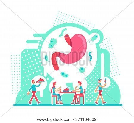Stomach Health Care Flat Concept Vector Illustration. Nutritious Diet For Male And Female Digestive