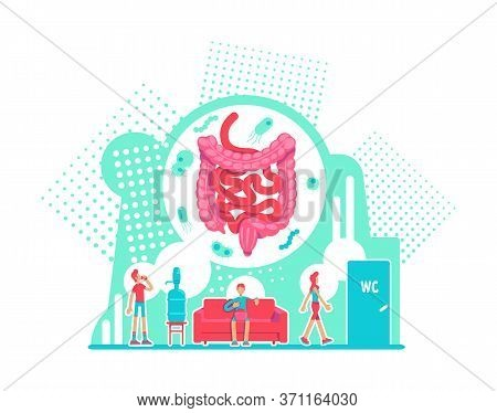 Digestive System Health Care Flat Concept Vector Illustration. Anatomy Of Large Intestine. Disease P