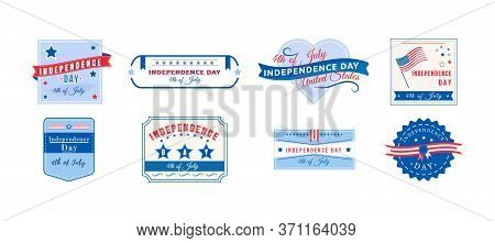American Independence Holiday Flat Color Vector Badges Set. Fourth Of July Sticker. Us Freedom. Unit