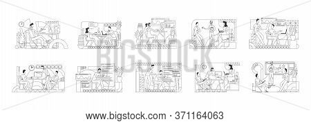Office Employees Coworking Thin Line Vector Illustrations Set. Ceo, Executive Manager Outline Charac