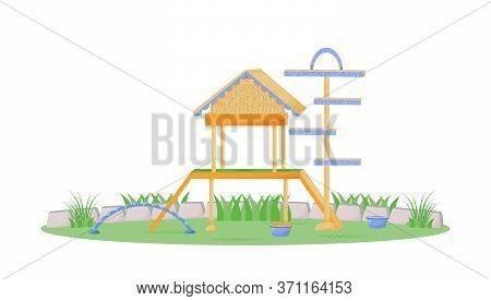Playhouse Cartoon Vector Illustration. Furniture For Domestic Animal To Play In Garden. Backyard Dog