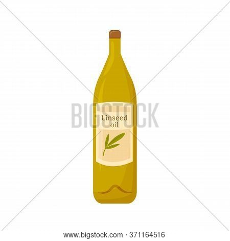 Linseed Oil In Glass Bottle Cartoon Vector Illustration. Polyunsaturated Fatty Acids Sources Flat Co
