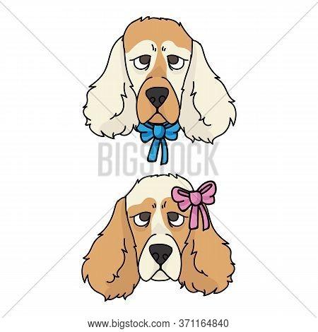 Cute Cartoon Cocker Spaniel Dog Face Boy And Girl Vector Clipart. Pedigree Kennel Dog Lovers. Purebr