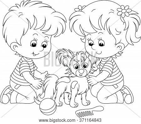 Little Children Brushing Their Cheerful Small Papillon Puppy For A Walk, Black And White Outline Vec