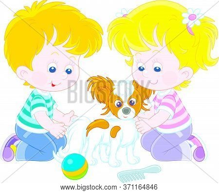 Little Children Brushing Their Cheerful Small Papillon Puppy For A Walk, Vector Cartoon Illustration