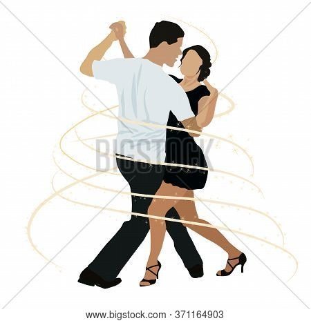 Vector Stock Illustration Of Brazilian Dancing. Ballroom Dancing Competitions. A Couple Of Dancers D