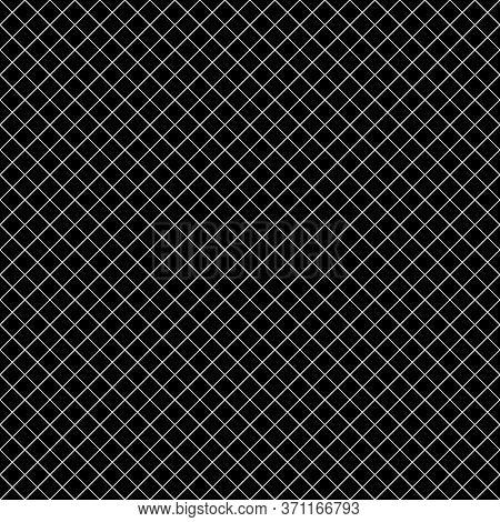 Seamless Surface Pattern With Mini Diamond Ornament. White Diagonal Stripes Grill On Black Backgroun