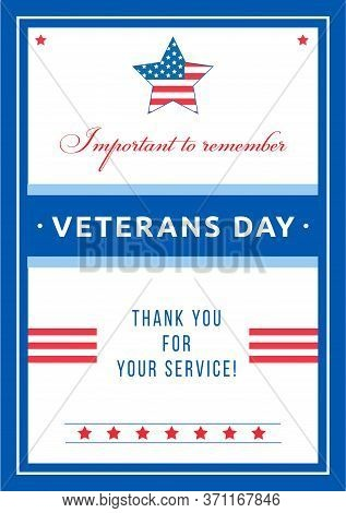 Veterans Day Event Poster Flat Vector Template. Honor Served In Civil War. Us Freedom And Liberty. B
