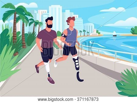 People Jogging On Seafront Flat Color Vector Illustration. Men With Artificial Limbs Running. Guys A