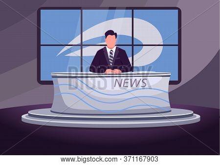 News Broadcast Flat Color Vector Illustration. Professional Newscaster, Newsreader, Anchorman 2d Car