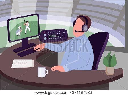 Sports Commentator Flat Color Vector Illustration. Caucasian Man Commenting Sportive Event 2d Cartoo