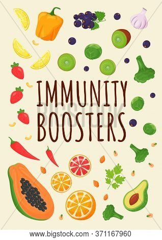 Immunity Boosters Poster Flat Vector Template. Fresh Fruits And Vegetables For Healthy Diet. Product