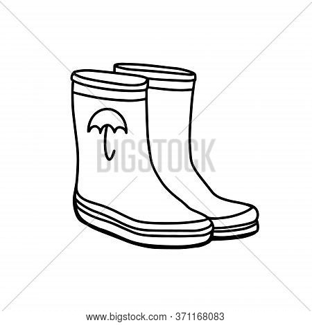 Rubber Boots Isolated On A White Background.gardeners Boots For Working In The Garden. Hand-drawn Ve