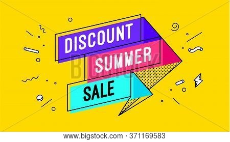 Discount Summer Sale. 3d Sale Banner With Text Discount Summer Sale For Emotion, Motivation. Modern
