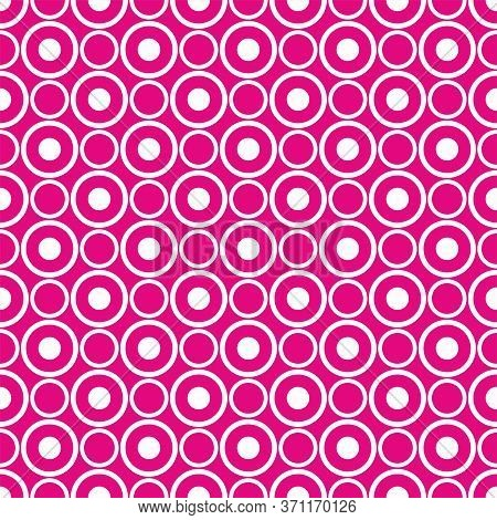 Abstract Seamless White Polka Dots On Neon Pink Vector Background