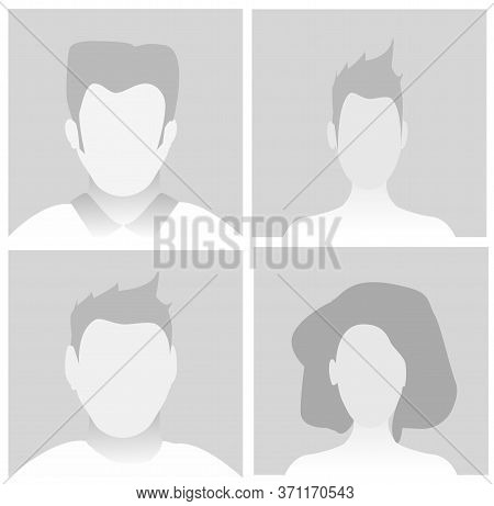 Default Placeholder Avatar Profile On Gray Background. Vector Illustration Man And Woman Eps10