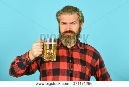Alcoholic. Thirsty Man Drinking Beer In Pub Bar. Beer With Foam. Hipster Drink Beer. Mature Bearded