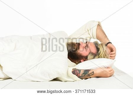 Practice Relaxing Bedtime Ritual. Man With Sleepy Face Lay On Pillow. Fast Asleep Concept. Man With