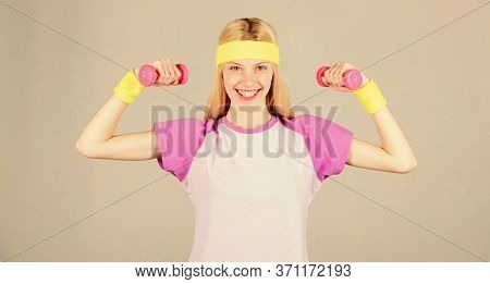 Easy Biceps Exercise. Workout With Dumbbell. Weight Loss Concept. Workout Sport And Dieting. Woman W