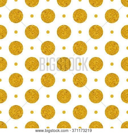 Tile Vector Pattern With Big Golden Polka Dots On White Background For Seamless Decoration Wallpaper