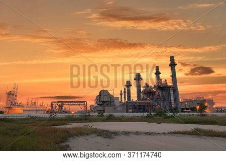Power Plant Energy Power Station Area, Gas Turbine Electrical Power Plant During Sunset