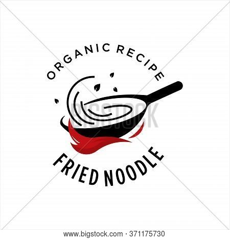 Fried Noodles Logo Design Template. Simple Street Food Culinary Vector Label Or Illustration Graphic