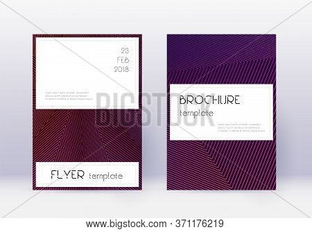 Stylish Cover Design Template Set. Violet Abstract Lines On Dark Background. Fine Cover Design. Temp