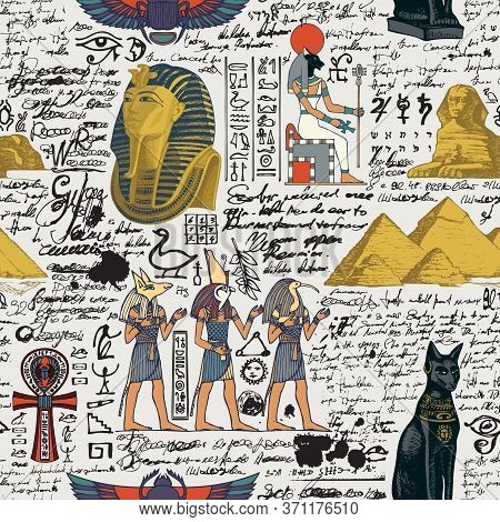 Seamless Pattern On An Ancient Egypt Theme With Color Images Of Egyptian Gods And Unreadable Scribbl