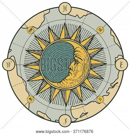Hand-drawn Moon And Sun On The Old Map In Vintage Style. Vector Decorative Illustration On The Theme