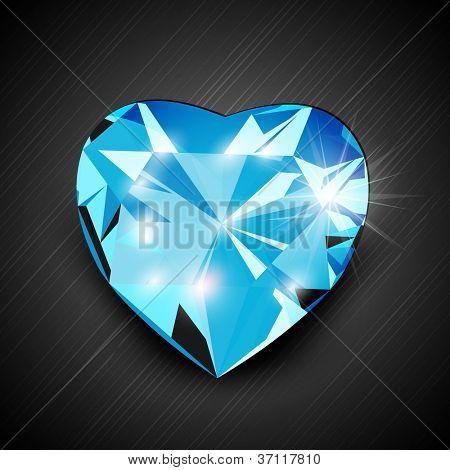 Blue diamond in heart shape. EPS 10. poster
