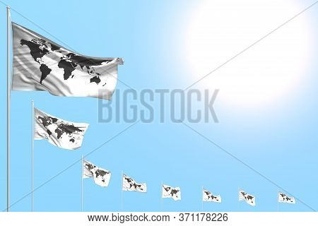 Cute Many Belgium Flags Placed Diagonal On Blue Sky With Place For Content - Any Holiday Flag 3d Ill