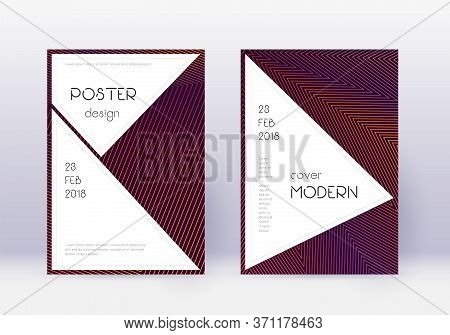 Stylish Cover Design Template Set. Orange Abstract Lines On Wine Red Background. Fantastic Cover Des
